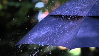 Slow Motion Rain Falling HD on Black Umbrella with Heavy Raindrops Hitting and Bouncing Off Brolly