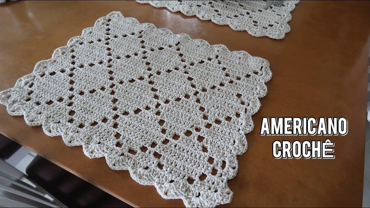 Jogo Americano Em Croche Lindo E Facil De Fazer Pontos Basicos Jogo Americano De Croche Supla De Croche Quadrado Sousplat De Croche Quadrado