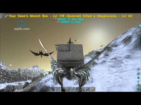 ARK: Survival Evolved - Raid on mountain Top base in PvP HC - Quetzal, Dimo and ptera dog fight ep1.