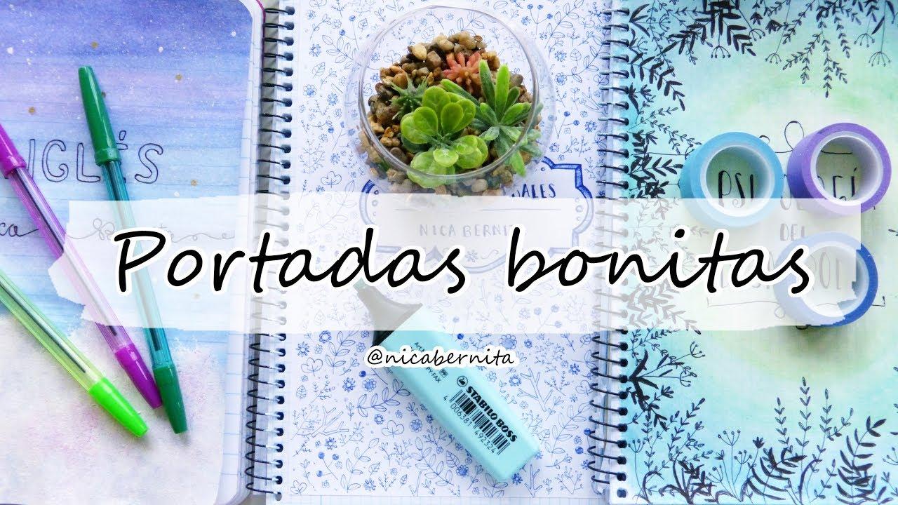 Portadas Para Cuadernos Con Bolígrafos Y Acuarelas Carátulas Con