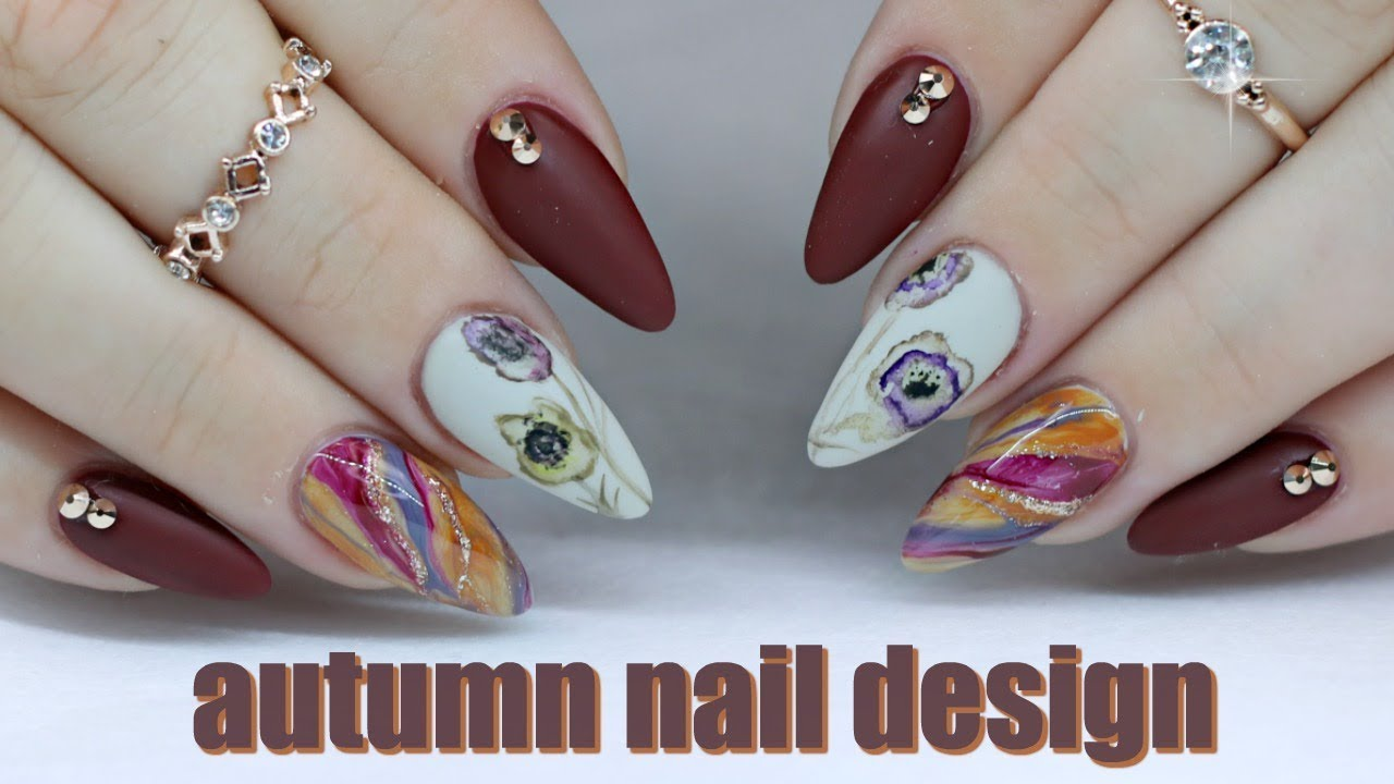 Autumn Nails Gel Polish Tutorial Marble Water Color