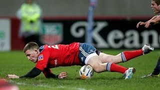 Andrew Conway touches down for Try - Munster v Cardiff Blues 8th February 2014