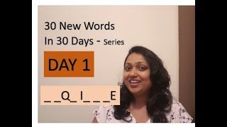 Day 1 30 New words in 30 days series