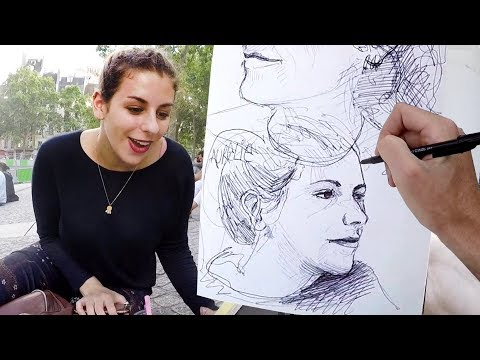 DRAWING LIVE PORTRAITS in PARIS! #KiptoePaintsTheWorld