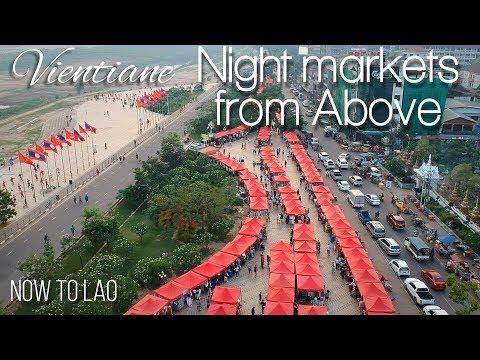 Vientiane Night Markets Laos - Mekong Riverside Sunset drone footage Vientiane Laos Now to Lao Vlog