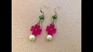 Simply Spring Bicone Earrings    How to make Beaded Earrings