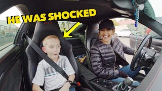 PICKING UP A 9 YEAR OLD FROM SCHOOL IN A PORSCHE GT3 *SHOCKED REACTION*