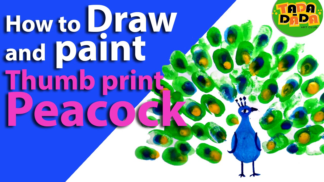 Learn how to draw and paint Thumb print peacock - YouTube