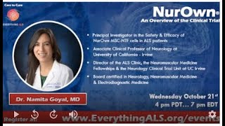 NurOwn, An Overview of the Stemcell Clinical Trial with Dr. Namita Goyal, MD