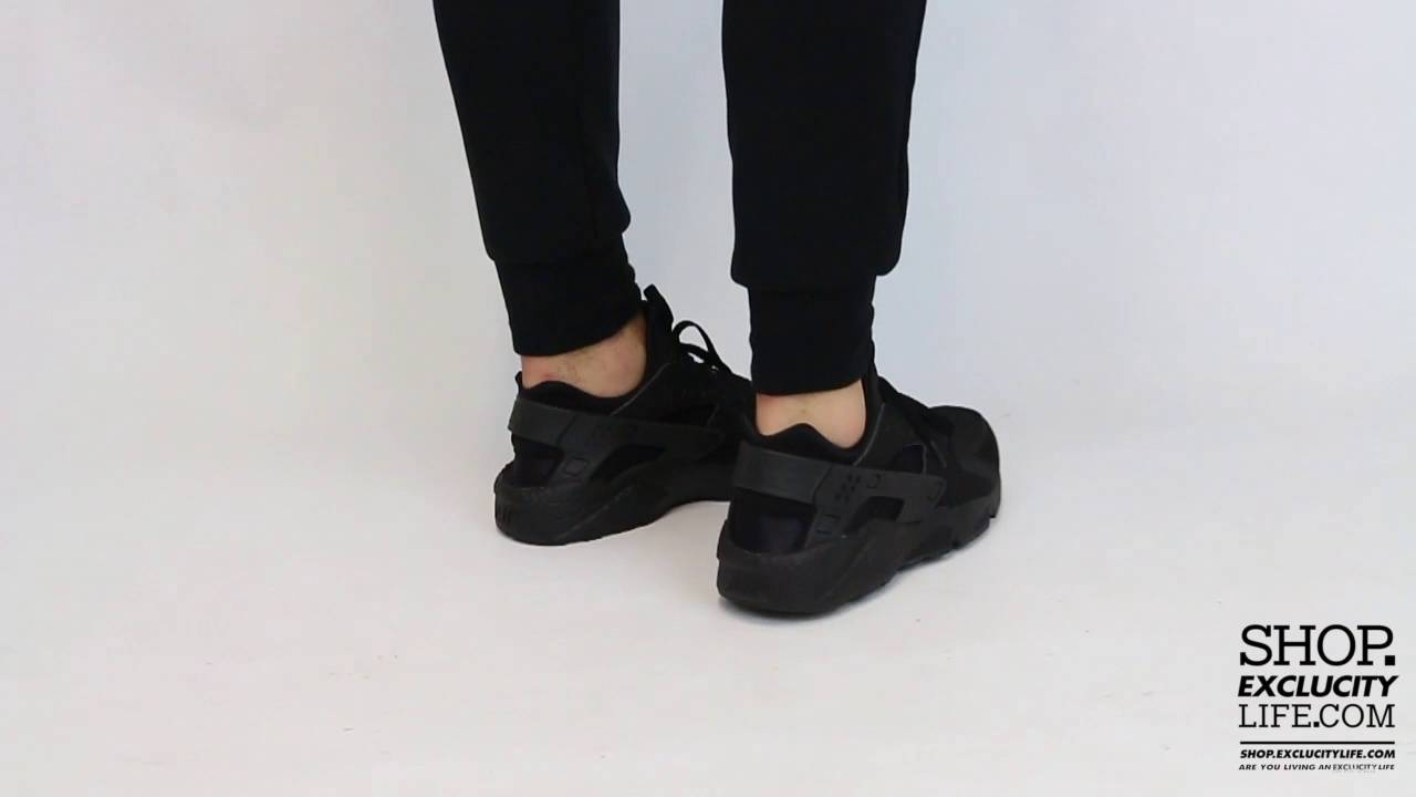 Nike Huarache Run Black - Black On feet Video at Exclucity
