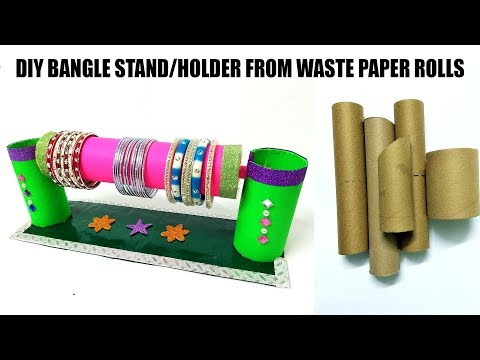 DIY BANGLE STAND FROM WASTE TOILET PAPER ROLLS | BANGLE HOLDER | KITCHEN PAPER ROLLS  | FLY IN CRAFT