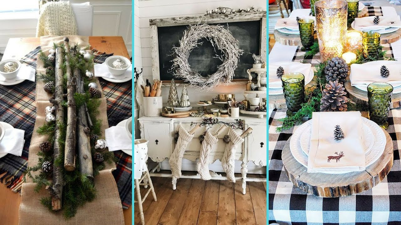 DIY Shabby Chic Style Rustic Christmas Dining Table Decor Ideas