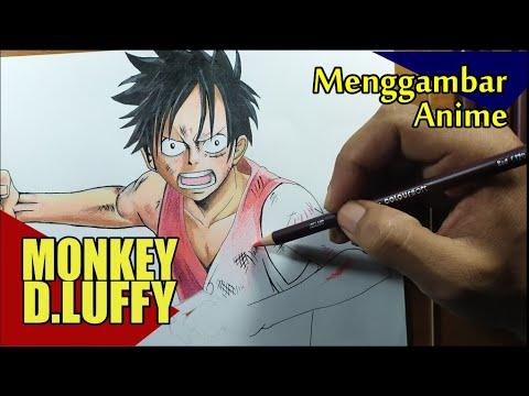 Cara menggambar anime pemula | luffy one piece - YouTube