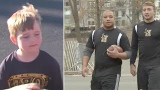 Video 5-year-old tormented by bullies every day. Then 2 football players show up at his lunch table download MP3, 3GP, MP4, WEBM, AVI, FLV Agustus 2018