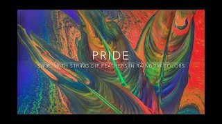 ( 35 ) Fluid Painting - Pride - Back drop swirl pour with string dipped feathers in rainbow Colors
