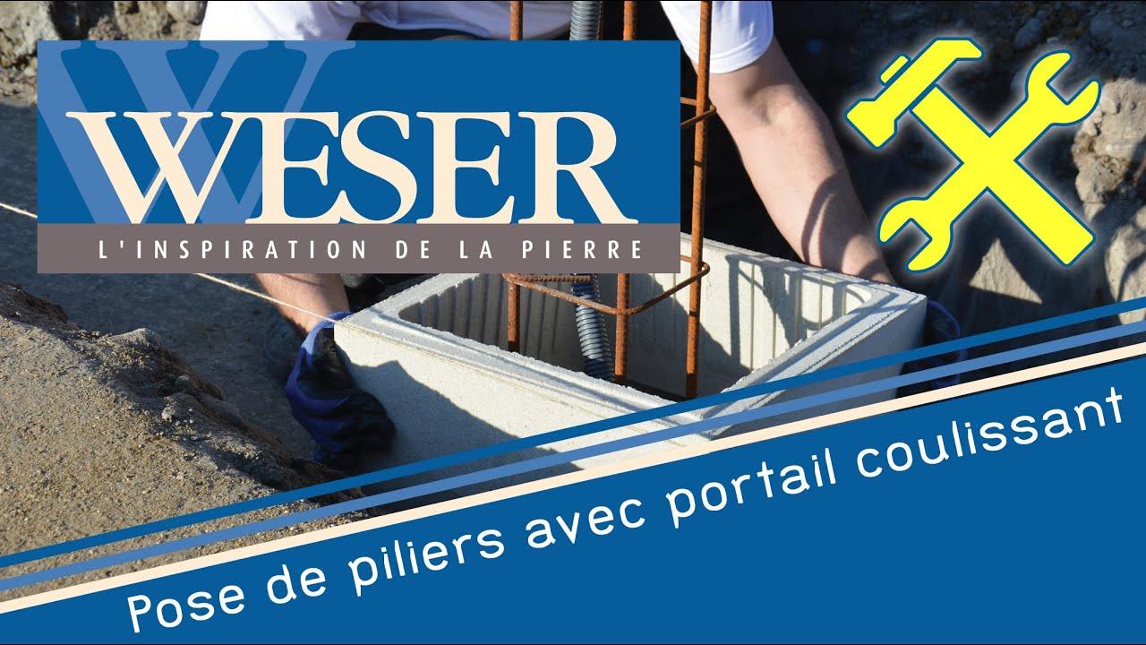 Pose De Piliers Poteaux De Clôture Weser Avec Portail Coulissant