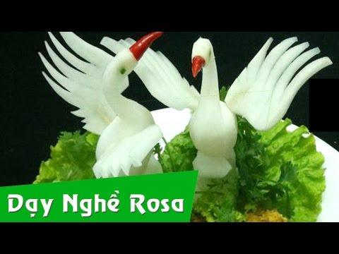 Tỉa rau củ: bài thiên nga từ củ cải trắng