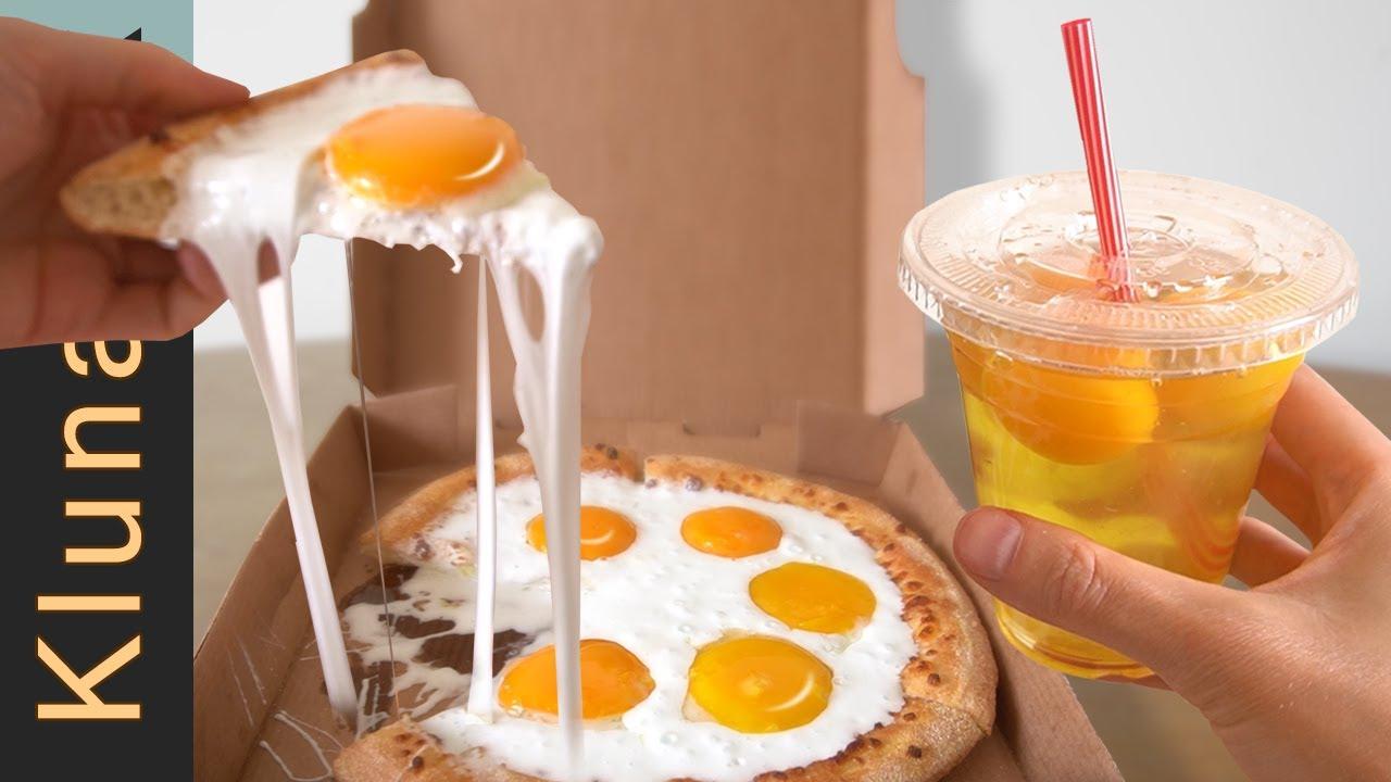Egg SLIME PIZZA & RAW EGG MILKSHAKE taste test!!