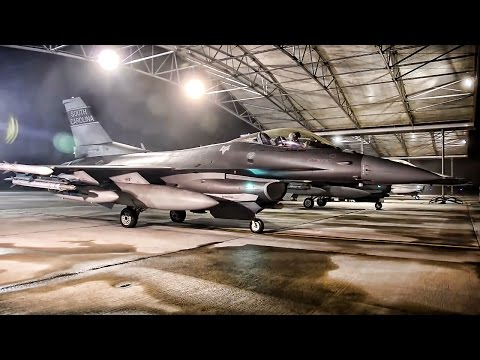 U.S. F-16 Fighter Jet Operations • Lask Air Base Poland
