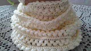 Вязание на вилке. Снуд. Часть 4 // Women's hats knitting // Сrochet scarf