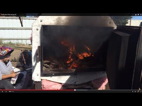 Gasification boiler burning tire