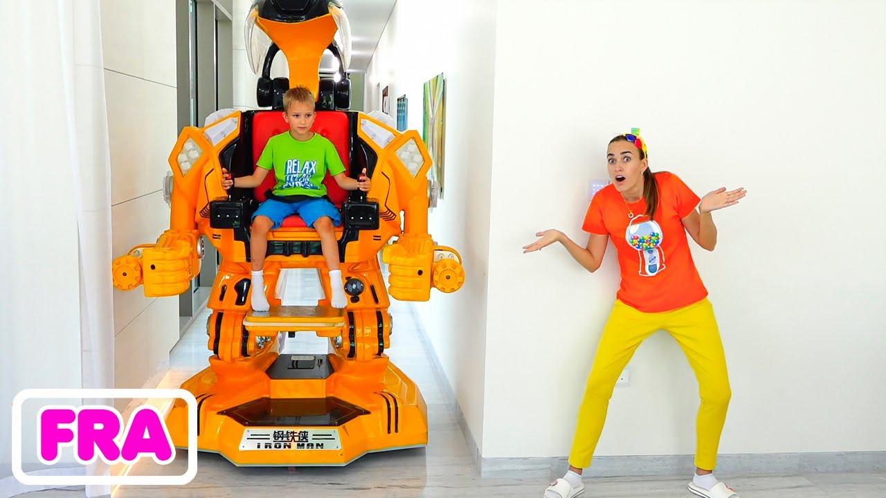 Download Vlad et Niki font semblant de jouer avec un jouet à enfourcher