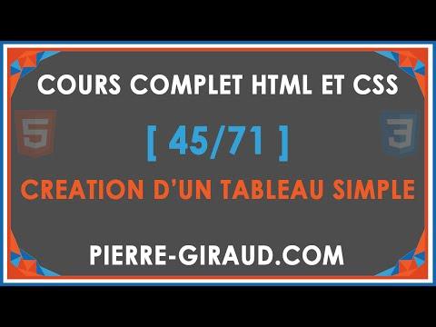 COURS COMPLET HTML ET CSS [45/71] - Créer Un Tableau Simple