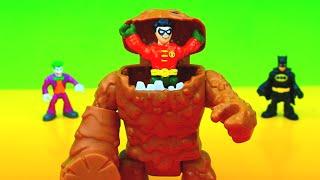 Imaginext Joker steals Batman Bat Suit Robin uses Clayface to get it back Justice League