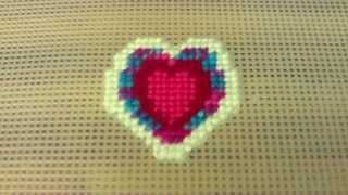Cross Stitching A Heart Design On Plastic Canvas Mesh: Part 1