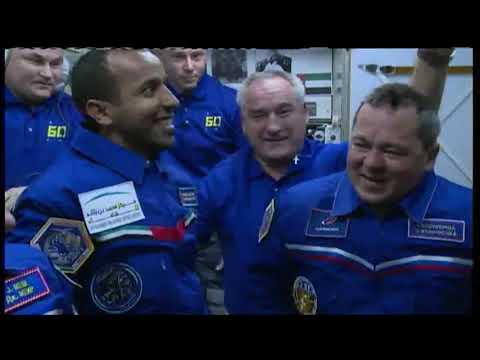 استقبال رائد الفضاء الإماراتي على متن محطة الفضاء الدولية
