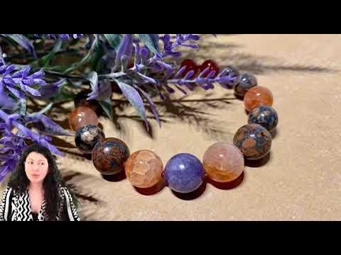 Браслет «Силы на духовный рост»: ангелит, сердолик, гранат, леопардовая яшма
