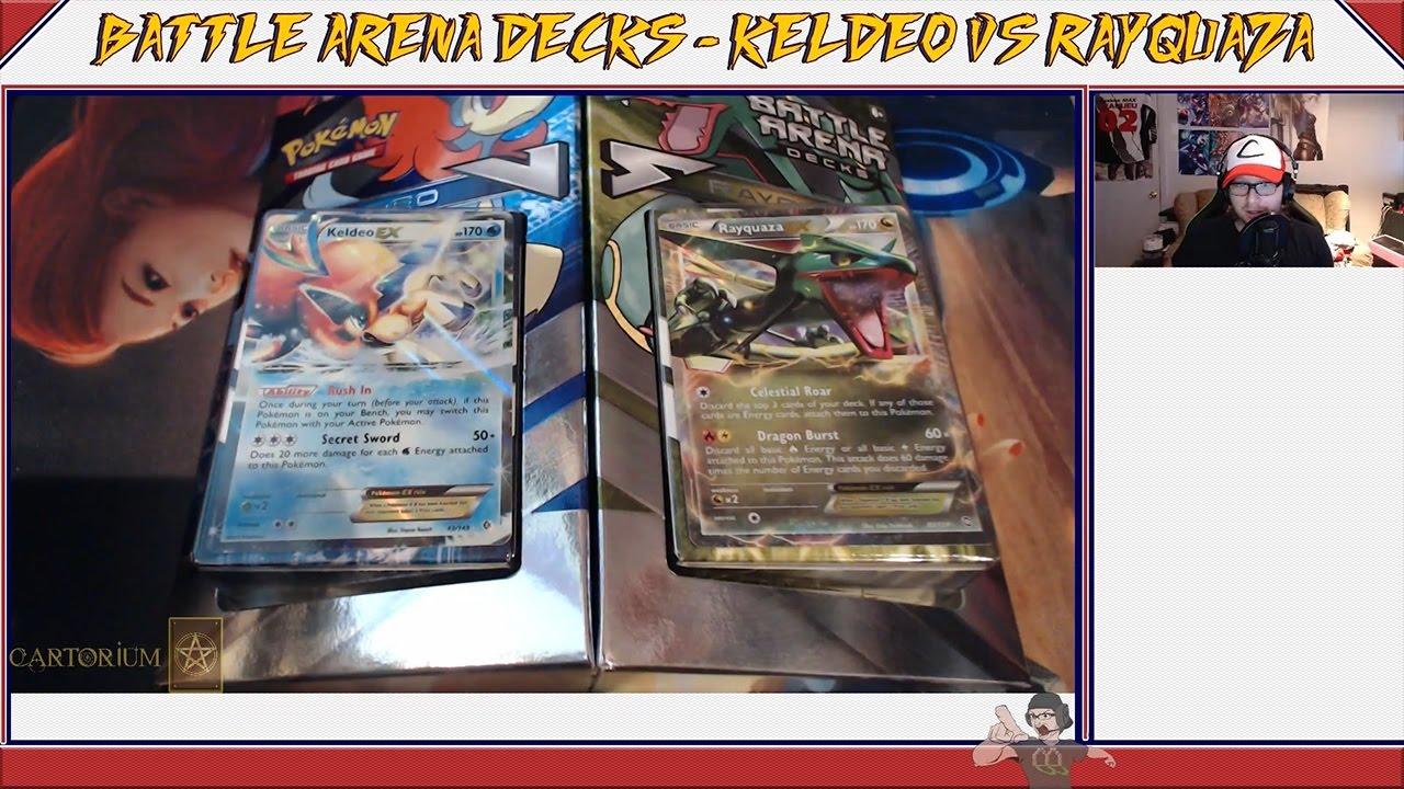 Unboxing Battle Arena Decks Keldeo vs Rayquaza - YouTube