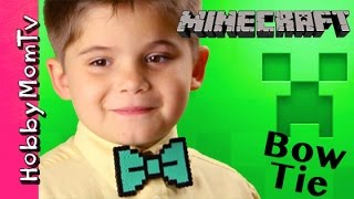 DIY How to Make Minecraft Bow Tie! Video Gamer Gift, 8-bit Tutorial by HobbyMomTV(The coolest gift ever for 8-bit video gamers! Minecraft or even Super Mario looking bow tie or hair bow! I show you how in the this way easy and fast fun tutorial., 2015-05-14T14:00:01.000Z)