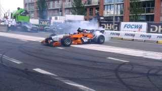Demo Jos Verstappen (Auto GP) en Max Verstappen (CRG), VKV City Racing 2013