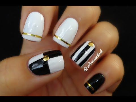 Black White Nail Art Nail Art Tape Selinas Nail Art Youtube