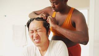 Giving My Korean Husband Cornrows!!  *🖐🏿 she heavy handed 🖐🏿*