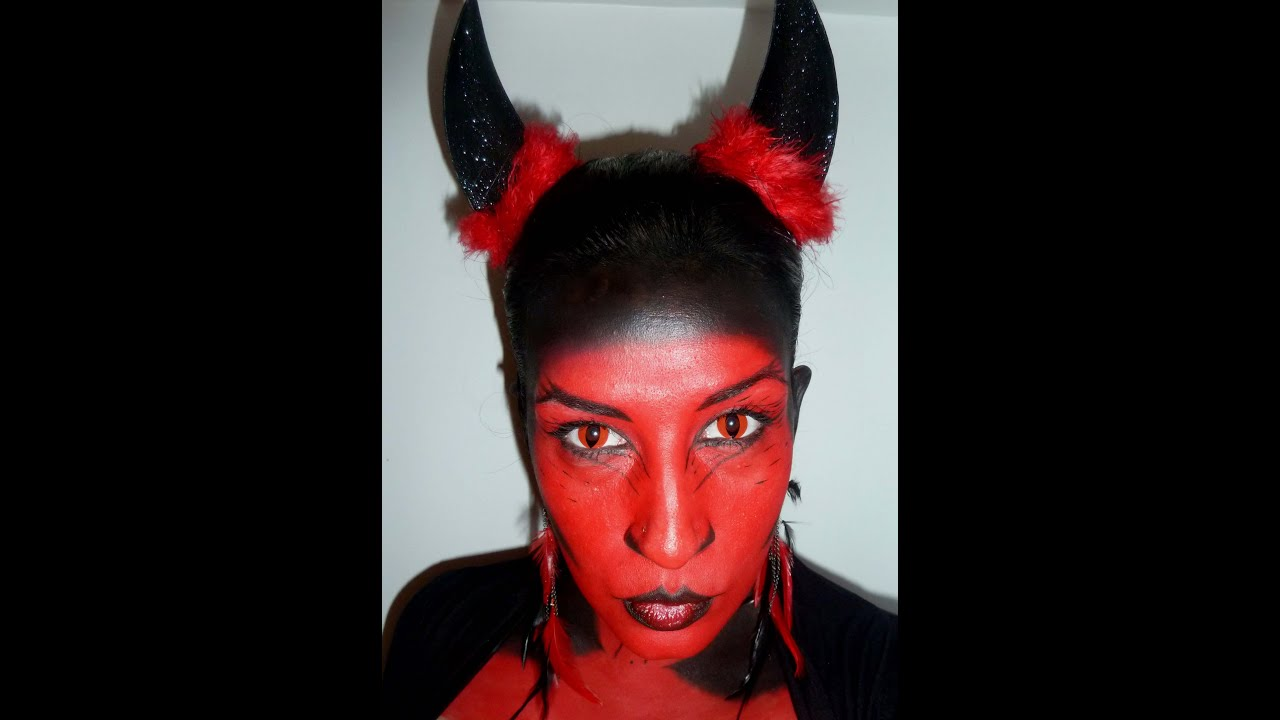 Concours halloween tellement fille diable youtube Maquillage de diablesse facile a faire