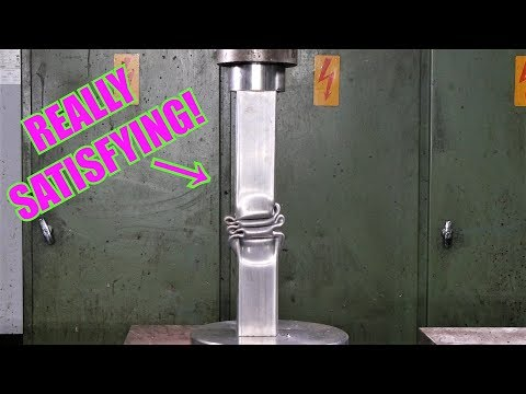 Crushing Long Steel Pipes with Hydraulic Press | REALLY SATISFYING!