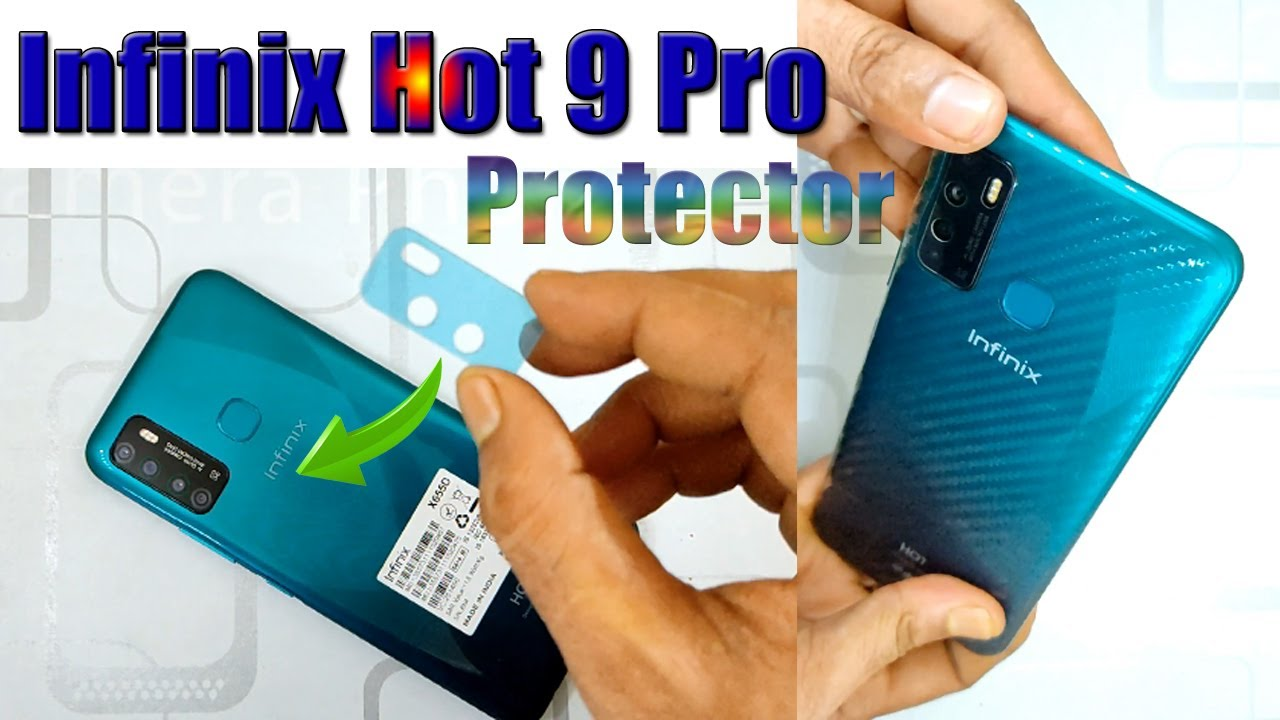 infinix hot 9 pro tempered glass with camera lens protector