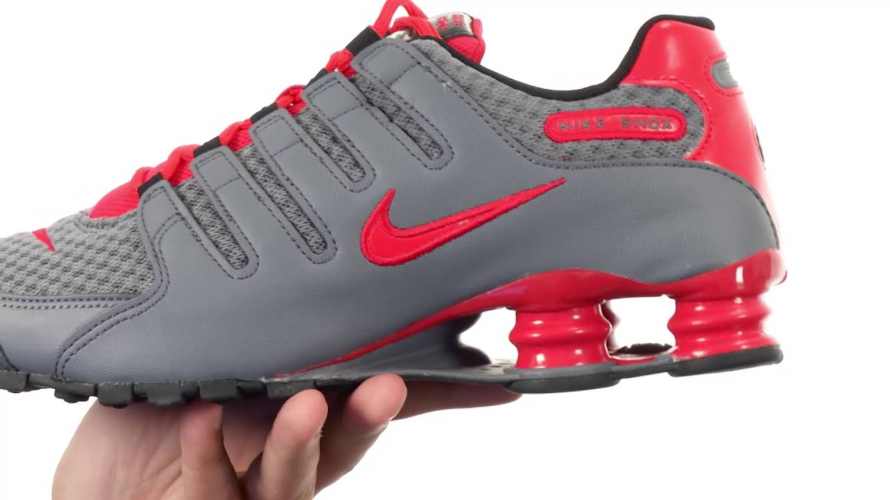 nike shox red and gray