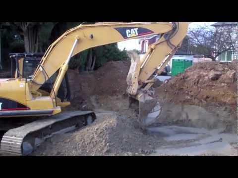 Excavator At Work-Caterpillar 320C Excavating Construction Site