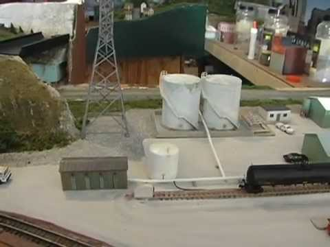 N scale oil tanks and chemical facility. Scratch building model train layout industry