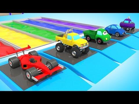 Видео: Цветные Гаражи и Бассейны /  Мультик Про Машинки / Обучающие видео для детей  /  Волшебство ТВ