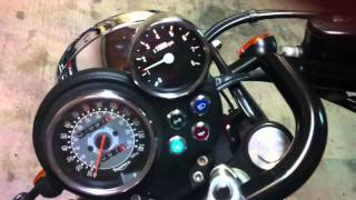 2002 Triumph Bonneville with new son of the wind Mini tachometer