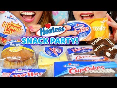 ASMR HOSTESS SNACK PARTY (CUPCAKES, JUMBO HONEY BUNS