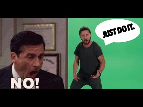 Shia Labeouf Vs Steve Carell - JUST DO IT !!! Vs NO GOD PLEASE NOOOO !!!