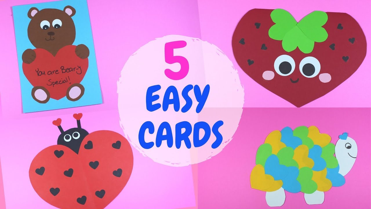 Easy Kids Valentines Day Card Craft Paper Crafts For Kids Youtube