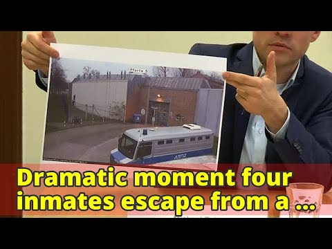 Dramatic moment four inmates escape from a Berlin prison via a tiny window after smashing through re