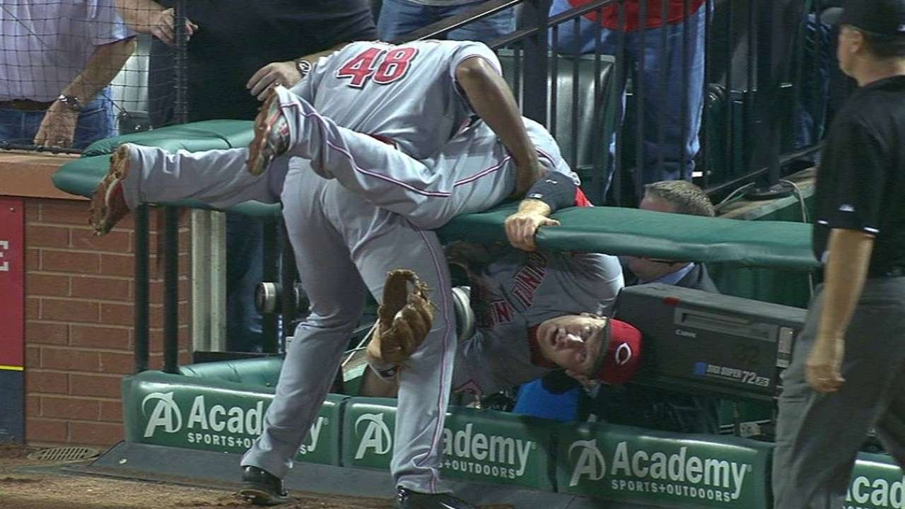 Frazier tumbles into stands on foul grab