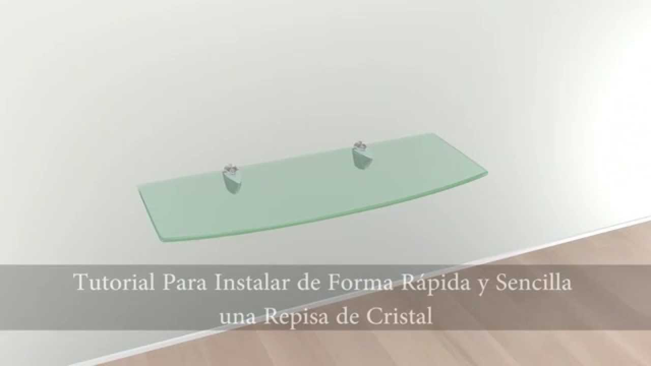 Kit de repisa de cristal by soliglass youtube for Repisa para bano sin taladro